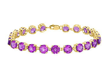 14K Yellow Gold Prong Set Round Amethyst Bracelet 12.00 CT TGW February Birthstone Jewelry by Love Bright