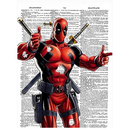 Art N Wordz Marvel Deadpool Original Dictionary Sheet Pop Art Wall or Desk Art Print Poster