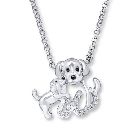 Ginger Lyne Collection Puppy Dog Pendant Sterling Silver CZ Chain Necklace](Silver Lab Puppies Uk)