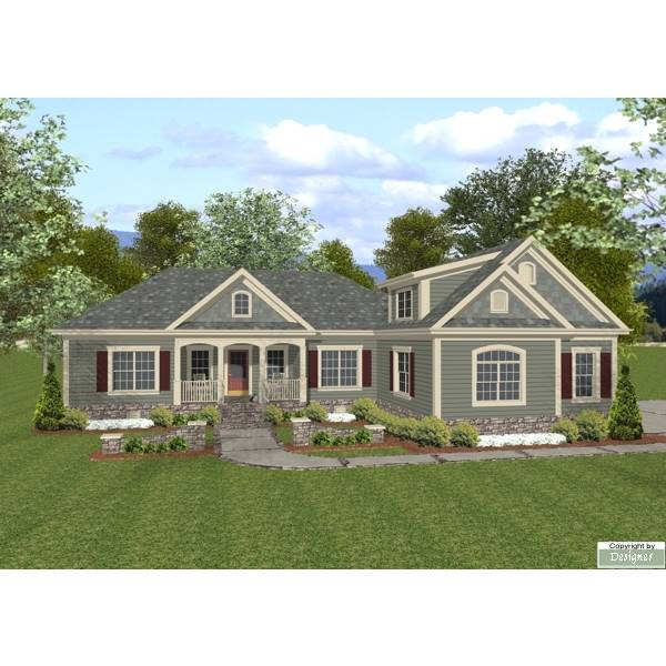 TheHouseDesigners-7675 Craftsman House Plan with Crawl Space Foundation (5 Printed Sets)