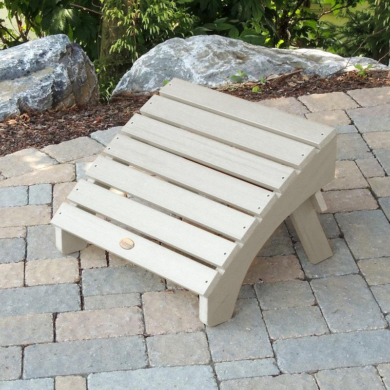 AD-OTL1-WAE Recycled Plastic Whitewash Adirondack Outdoor Hamilton Furniture Folding Ottoman-Made in USA