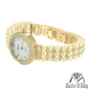 MK Style Watch Pearl Design Band Stainless Steel Back Gold Tone Lab Created Cubic Zirconias New