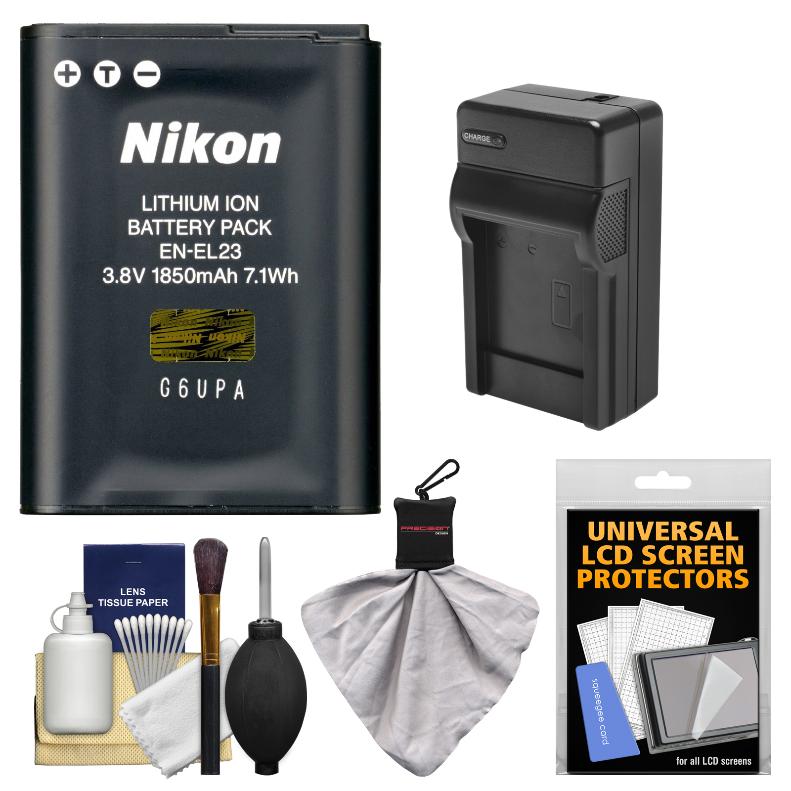 Nikon EN-EL23 Rechargeable Li-ion Battery with Charger + Kit for Coolpix P600, S810c Camera
