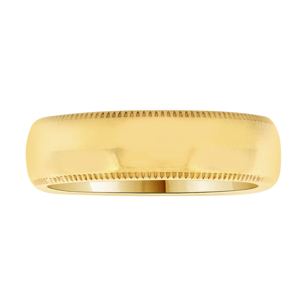 14k Yellow Gold, Classic Milgrain Plain Polished Band Ring 6mm Wide Size 7