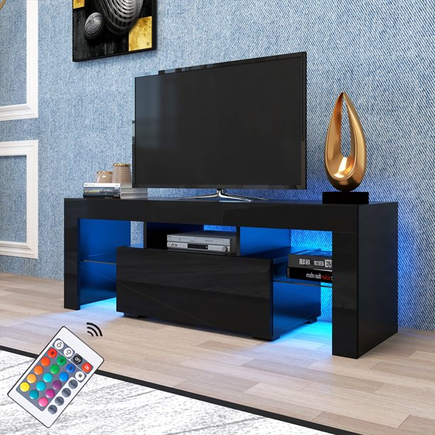 Modern Black TV Stand on Clearance with LED Lights, High Gloss 12