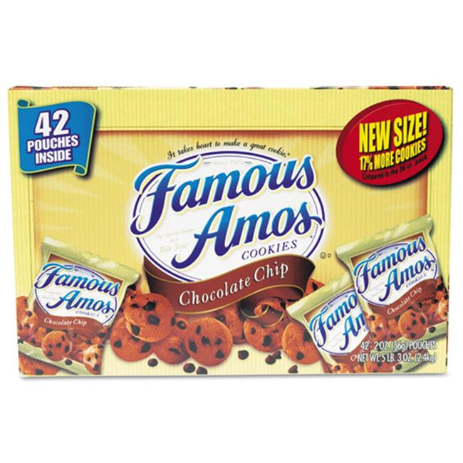 Kellogg'S 827554 Famous Amos Cookies, Chocolate Chip, 2 oz Snack Pack, 42 Packs/Carton