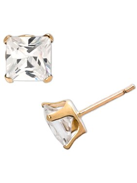 Brilliance Fine Jewelry 10kt Yellow Gold 5mm Square CZ Stud Earrings