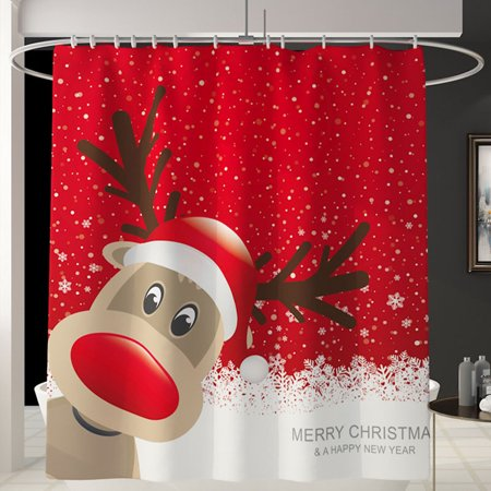 Christmas 4pc Shower Curtain Set Non Slip Rug Toilet Lid Cover And Bath Mat Xmas Ornament Shower Curtain With 12 Hooks Christmas Shower Curtain Set For Bathroom Walmart Com Walmart Com