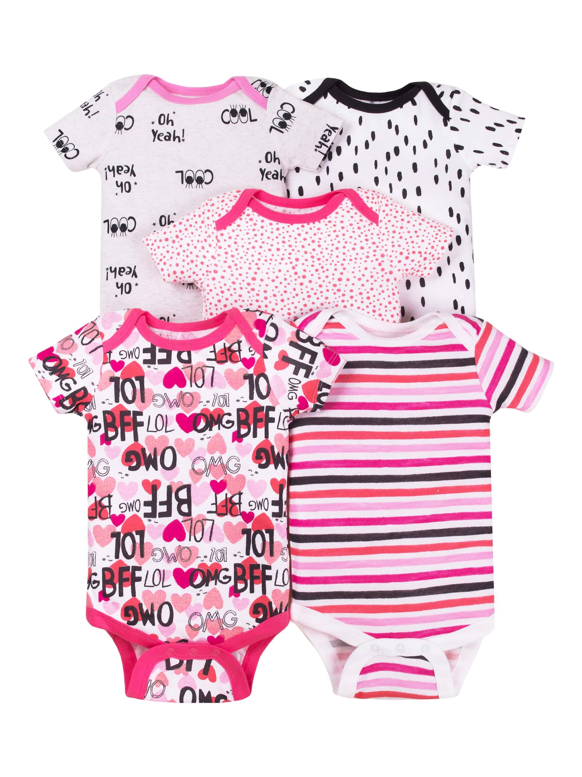 Baby Girl Assorted Short Sleeve Bodysuits, 5-Pack