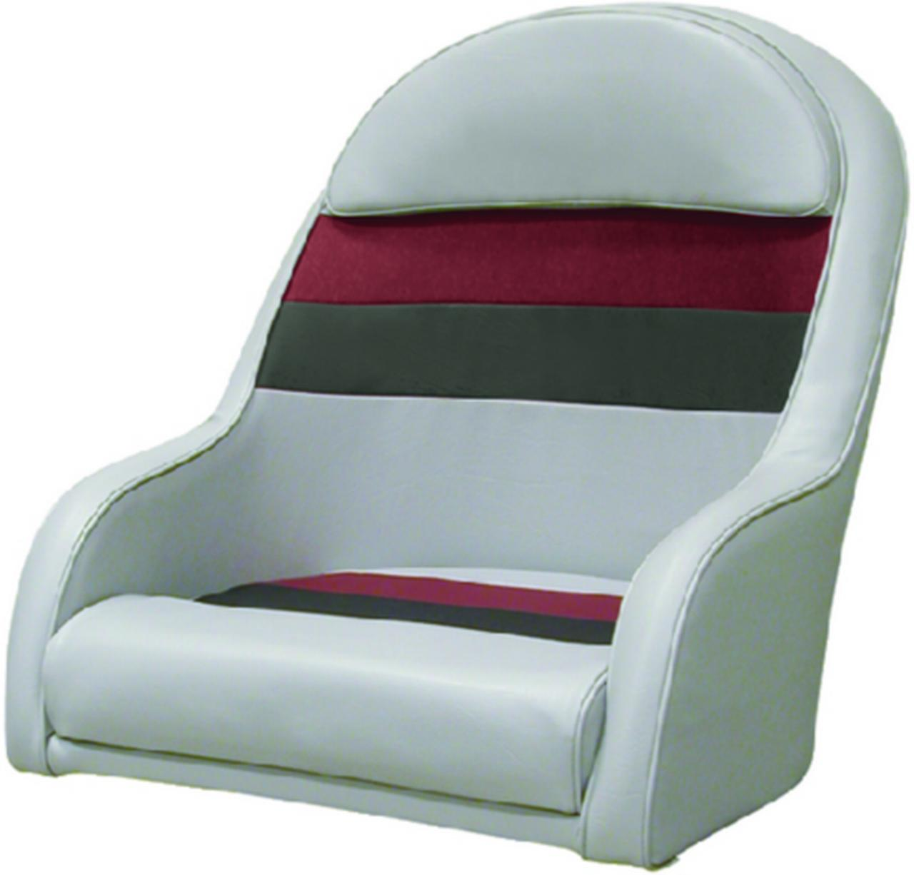 Wise Seat Deluxe Pontoon Furniture Captain Chair Light Gray Red