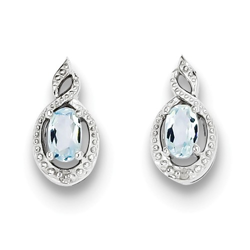 Sterling Silver 0.5IN Long Aquamarine & Diamond Earrings
