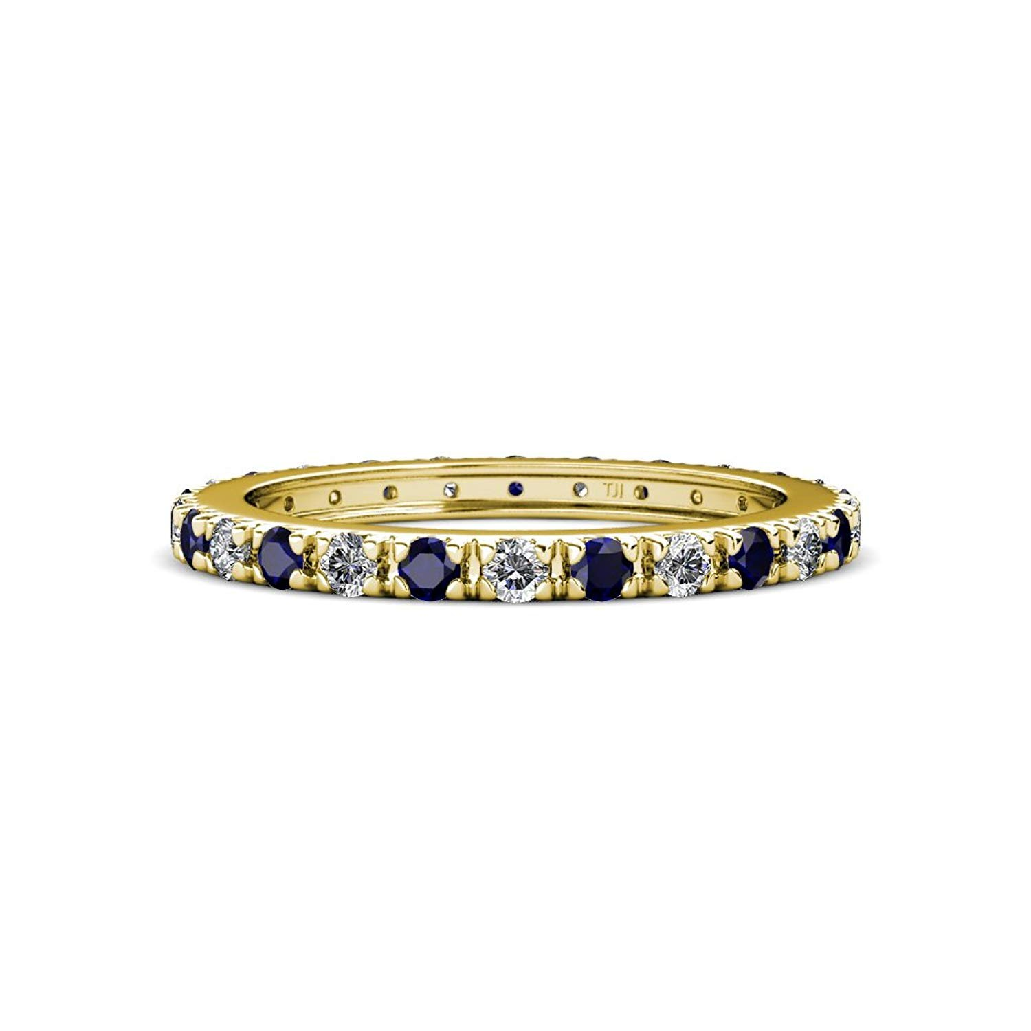 Blue Sapphire and Diamond French Set Eternity Band 0.82-0.98 Carat tw in 14K White Gold.size 5.0 by TriJewels