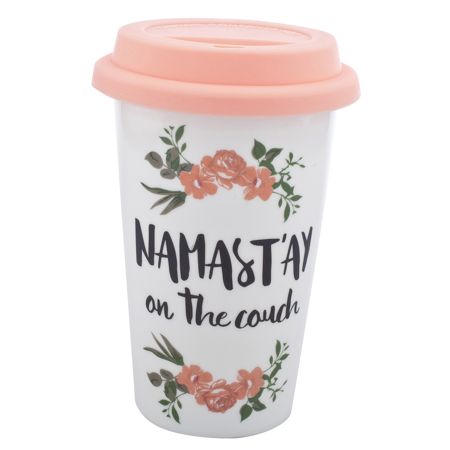 Lux Accessories Pink White Flower Namast'ay on the Couch Travel Coffee Mug (Accessories Cup)