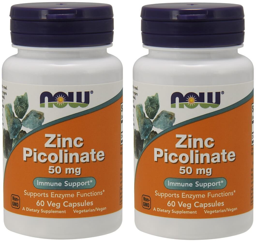 Now Foods - ZINC PICOLINATE, 50mg, 60 Vegetable Capsules - 2 Packs