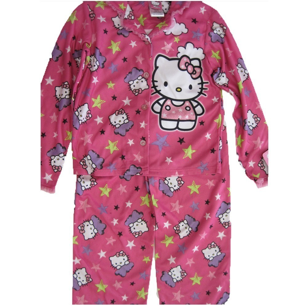 Hello Kitty Little Girls Fuchsia Kitty Image Star Print 2 Pc Pajama Set 4-6