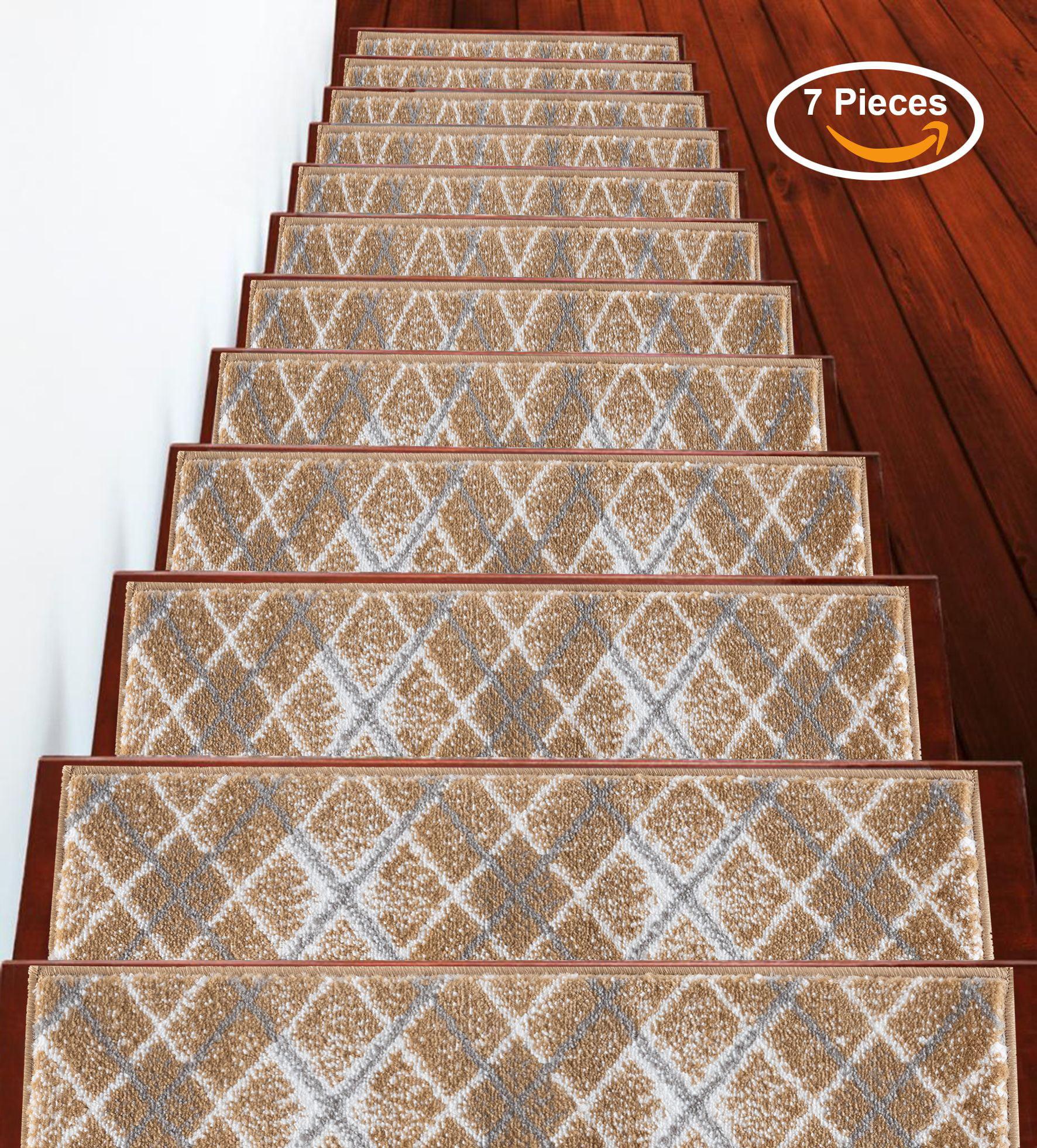Stairs Treads Anti Slip Stair Treads Non Slip Stair Treads Stair Grips Indoor Outdoor Stair Treads Carpet Stair Treads Stair Runner Carpet Runner For Stairs Beige White 9 X 28 7 Set