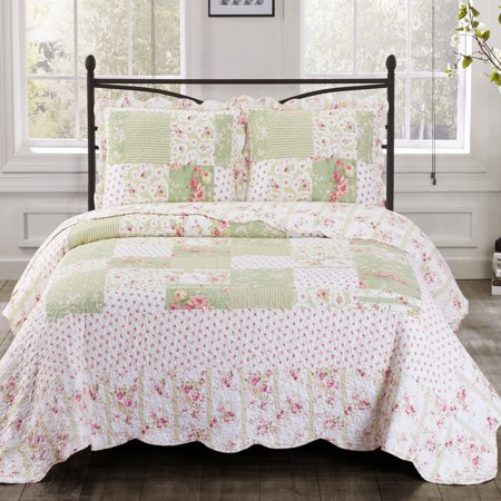 Upland Floral Design Sweet Home Reversible Quilted Coverlet Set Wrinkle-Free & Pet-hair Resistant : King/Calking (Oversized Queen Duvet)