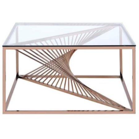 Benzara Metal Framed Coffee Table with Twisted Bar Base and Glass Top, Copper and (Transparent Frame Metal Top Bar Glasses)
