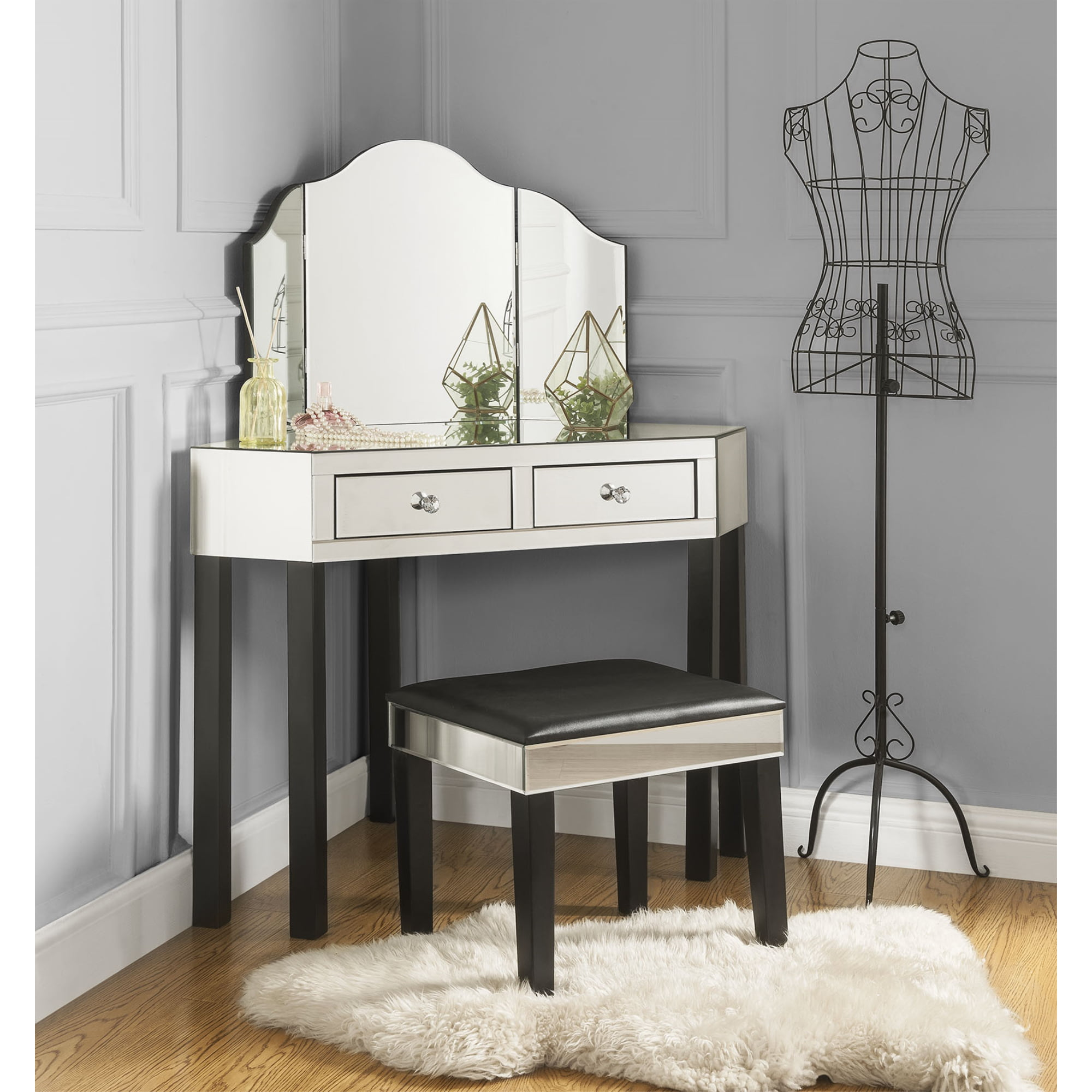 Inspired Home Daryl 3 Pieces Mirrored Corner Vanity Set 2 Drawers And Stool With Mirror Black Walmart Com Walmart Com