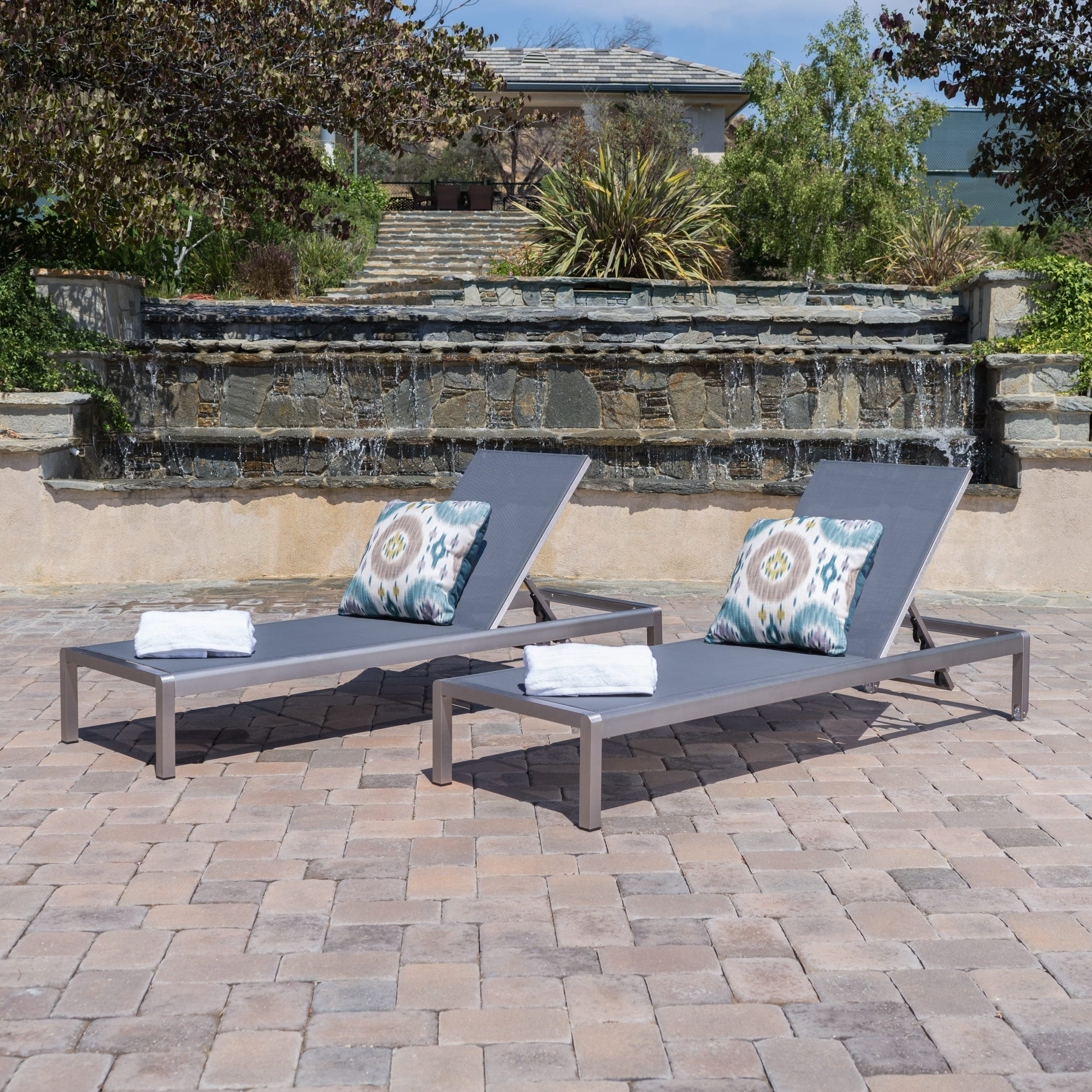 Christopher Knight Home Cape Coral Outdoor Aluminum Adjustable Chaise Lounge (Set of 2) by