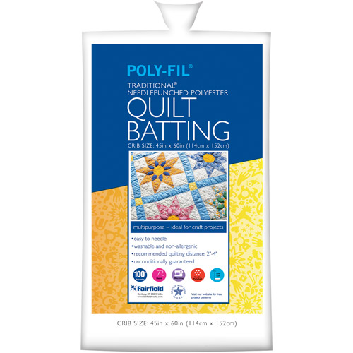"Poly-Fil Traditional 100 Percent Polyester Batting, 45"" x 60"""