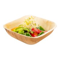 "Indo 18 oz Square Natural Palm Leaf Bowl - 5 3/4"" x 5 1/2"" x 1 1/2"" - 100 count box"