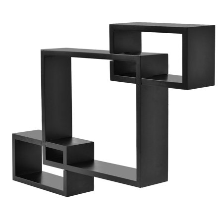 Gymax Wall Mounted Intersecting Shelf 3 Squares Floating Shelf Living Room  Office
