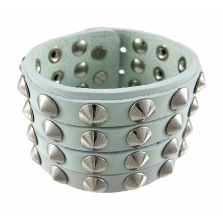 Gray Leather 4 Row Cone Spiked Wristband Blemished