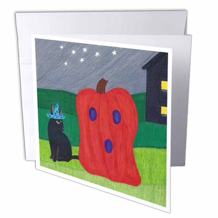 Ghost On Halloween (3dRose Orange Pumpkin Ghost and Black Wizard Cat on Halloween Night, Greeting Cards, 6 x 6 inches, set of)