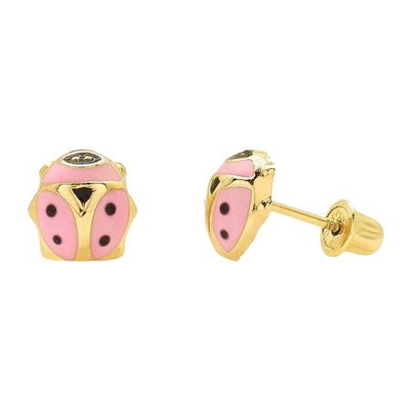 14K Yellow Gold Pink Enamel Ladybug Screw Back Stud Earrings 7mm