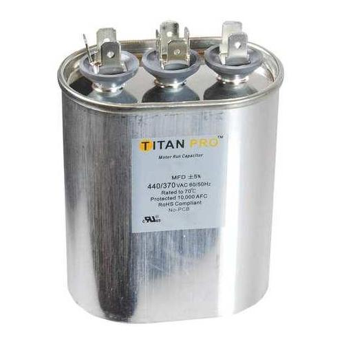 TITAN PRO TOCFD154 Motor Run Capacitor, Oval, 3-3/16 In. H