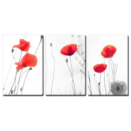 wall26 - 3 Panel Canvas Wall Art - Red Poppy Flowers - Giclee Print Gallery Wrap Modern Home Decor Ready to Hang - 16