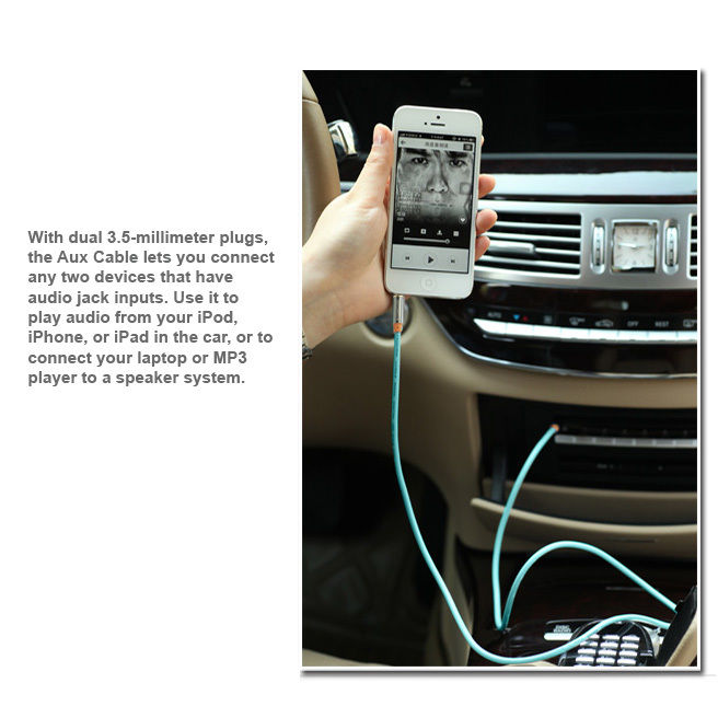 LIVEDITOR Chrome-Finished 3.5mm Tangle-Free Gold Stereo Aux / Auxiliary Cable, 6.6 Feet - image 1 of 6
