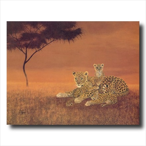 African Leopard Cat Cubs Tree Wall Picture Art Print