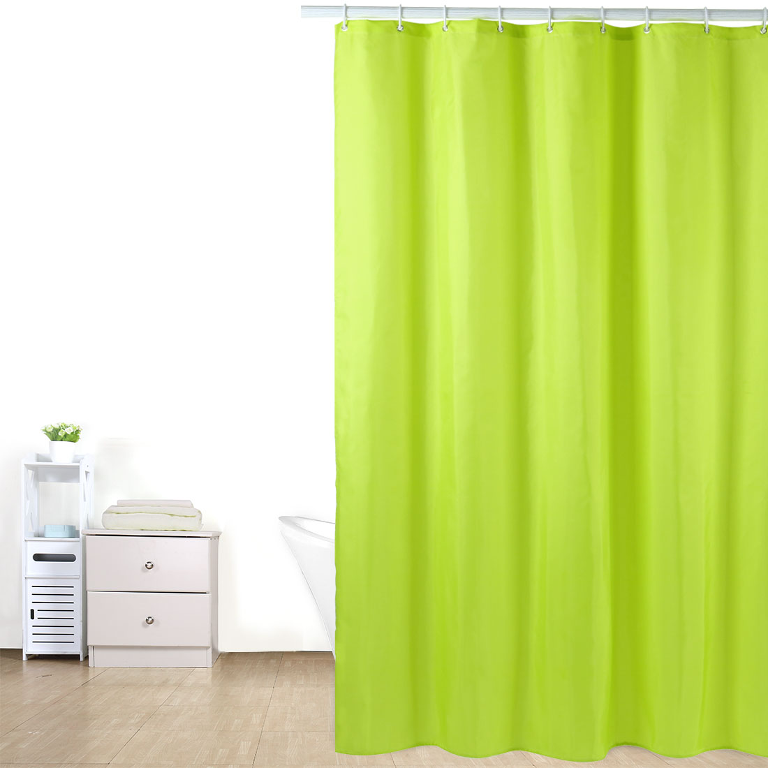 Solid Color Polyester Fabric Shower Curtain with Hooks Green 72 x 78 Inch - image 2 of 8