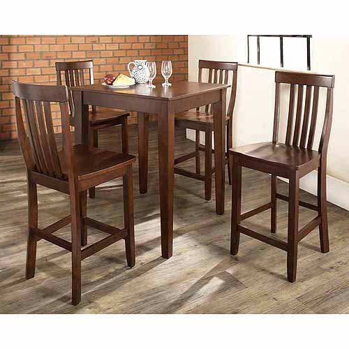 Crosley Furniture 5-Piece Pub Dining Set with Tapered Leg and School House Stools