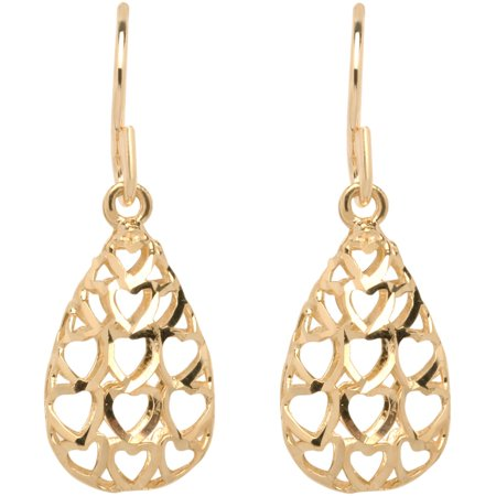 10kt Yellow Gold Diamond-Cut Teardrop Earrings