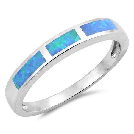 Blue Opal Wedding Set - CHOOSE YOUR COLOR Blue Simulated Opal Rectangle Men's Wedding Ring .925 Sterling Silver Band