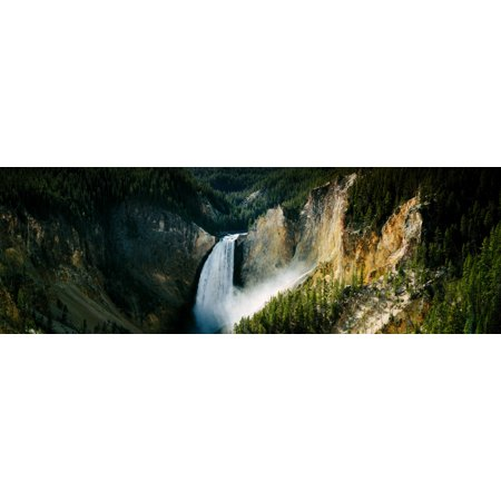 High angle view of a waterfall in a forest Lower Falls Yellowstone River Yellowstone National Park Wyoming USA Poster Print