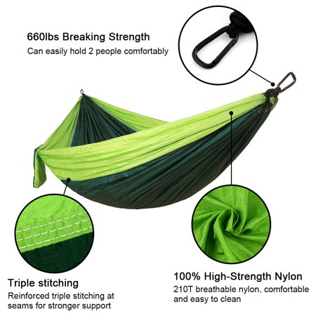Camping Double Hammock Easy Hanging Green Lime with Tree Strap 660lbs Capacity - image 2 de 6
