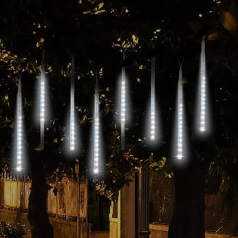 LED Meteor Shower Lights, EEEKit 144 LED 12 inch 8 Tubes Meteor Shower Rain Snowfall Light Waterproof Indoor Outdoor  Decor Light Kit for Garden, Christmas Tree, Wedding, - Christmas Outdoor Decor
