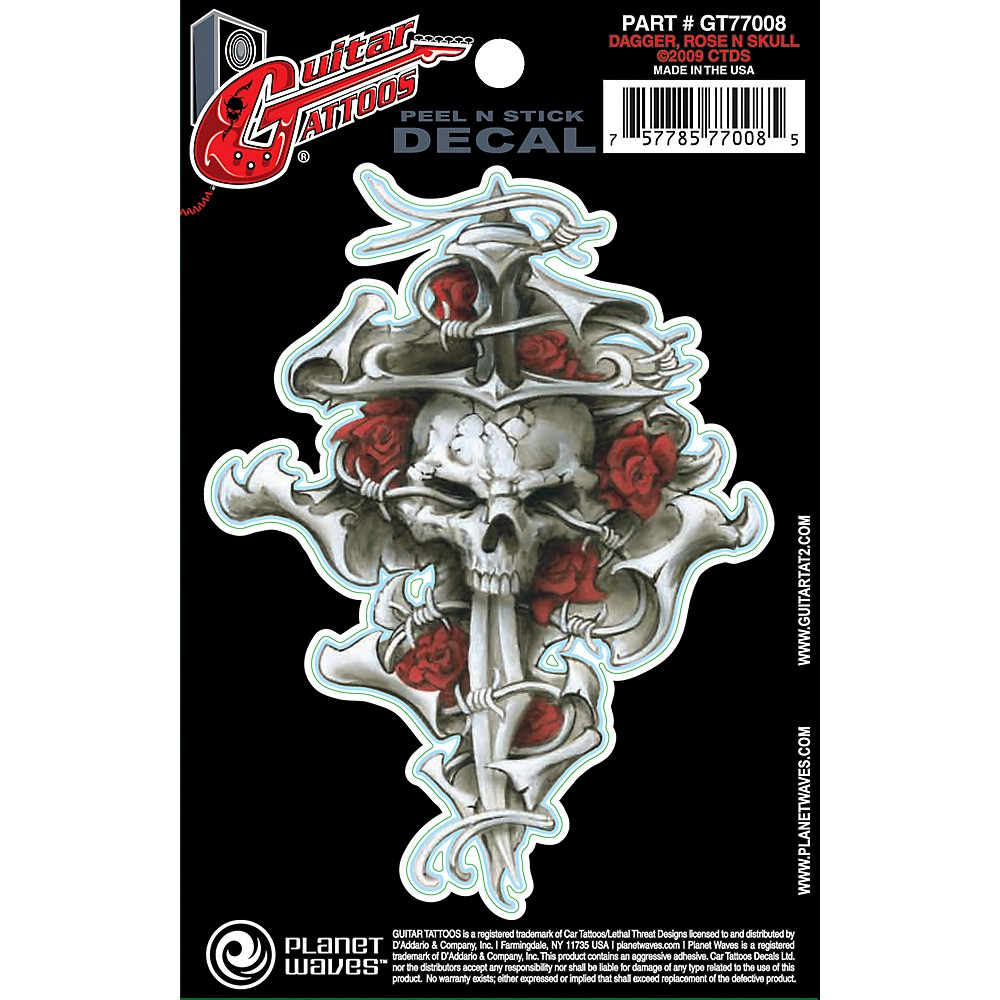 D'Addario Planet Waves Guitar Tattoo Decal Dagger Rose Skull