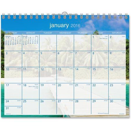 "At-A-Glance DMWTE828 Tropical Escape Wall Calendar - Monthly - 15"" x 12"" - 1 Year - January till December - 1 Month Single Page Layout - Chipboard, Paper - Blue"