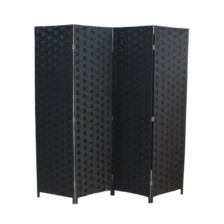 (Wood Mesh Woven Design 4 Panel Folding Wooden Screen Room Divider)