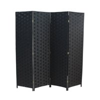 Product Image Wood Mesh Woven Design 4 Panel Folding Wooden Screen Room Divider