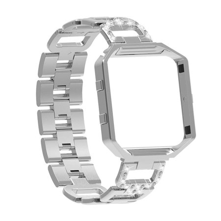 Bling Watch Wrist Band Stainless Steel Chained Replacement Accessories Strip Band Metal Fashion Luxury Watchstrap for Fitbit (Band Bling Watch)