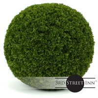 """3rd Street Inn Cypress Topiary Ball - 19"""" Artificial Topiary Plant - Wedding Decor - Indoor/Outdoor Artificial Plant Ball - Topiary Tree Substitute (4, Cypress)"""