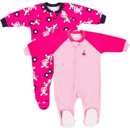 Baby Toddler Girl Blanket Fleece Sleepers 2 Pack
