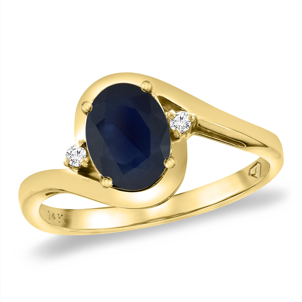 14K Yellow Gold Diamond Natural HQ Blue Sapphire Bypass Engagement Ring Oval 8x6 mm, size 5 by Gabriella Gold