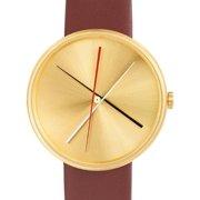 Mens Crossover Brass Analog Brass Watch - Brown Leather Strap - Brass Dial - 7292BR-L